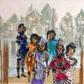 De dames van de Nieuwmarkt  62x57cm  tempera en collage op paneel