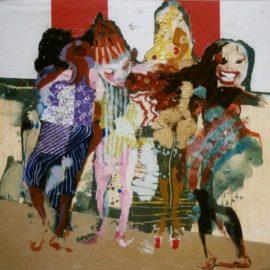 Girlpower  42x49cm gouache en collage