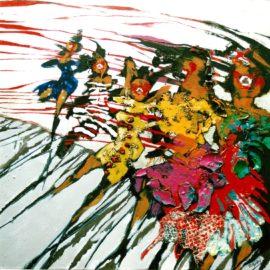 Jubileumfeest  80x80cm  olieverf, lakverf en collage op doek