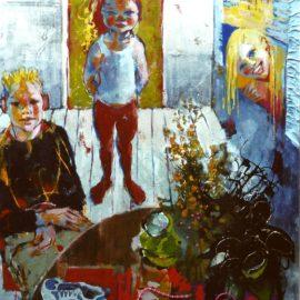 Marten, Lisa en Astrid  olieverf en collage op doek1.10x1.10cm