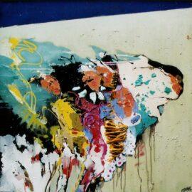 Storm 80x80 cm  olieverf , lakverf en collage op doek