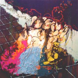 Big Easy olieverf en collage op doek 95x95cm