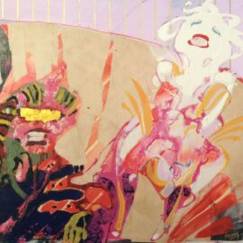 Hysterische bankzaken 42x49 cm  gouache en collage